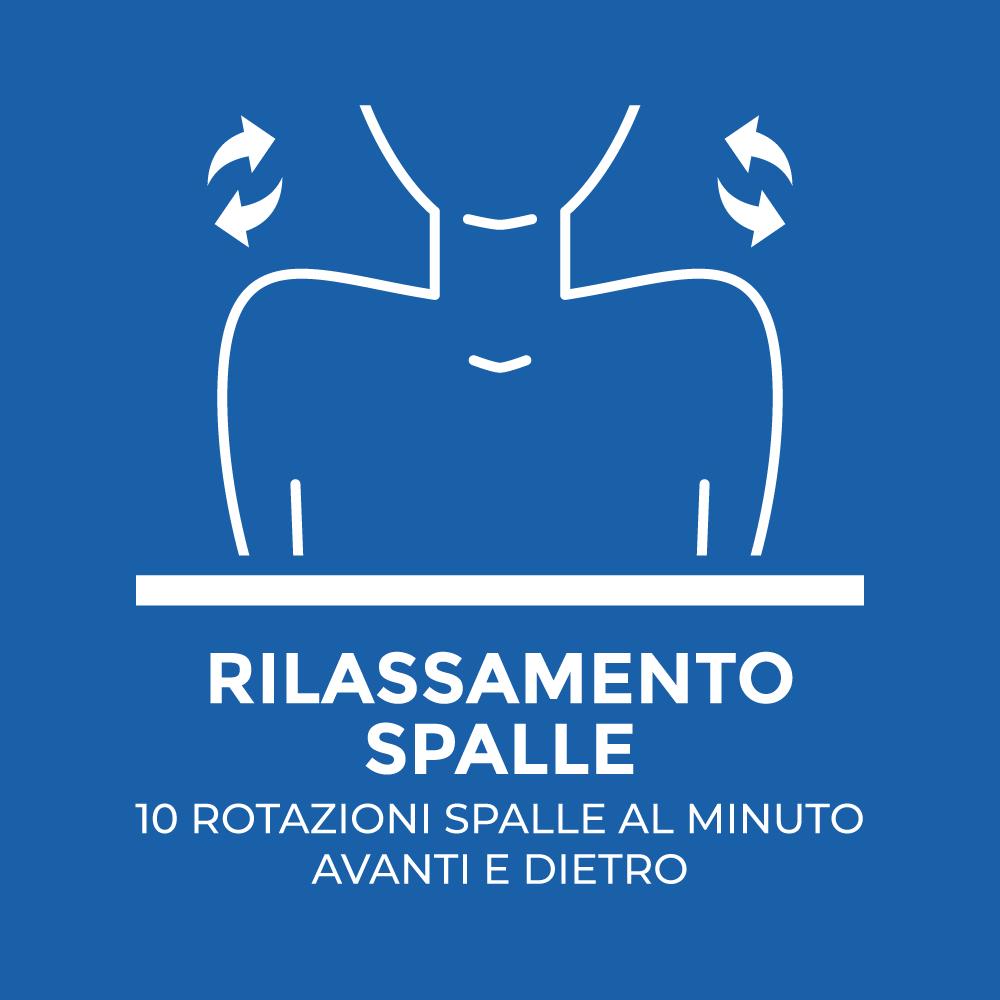 Rilassamento spalle: 10 rotazioni spalle al minuto avanti e indietro